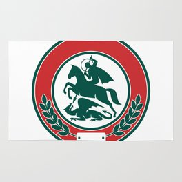 Saint George Slaying Dragon Circle Retro Rug