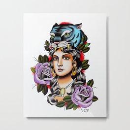 PaperTigress girl with tiger head - tattoo Metal Print