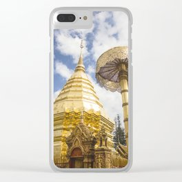 Entrance to Doi Suthep temple on a bright blue day. Golden Chatra and beautiful stupa. Clear iPhone Case