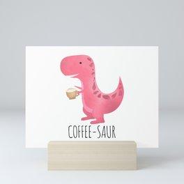 Coffee-saur | Pink Mini Art Print