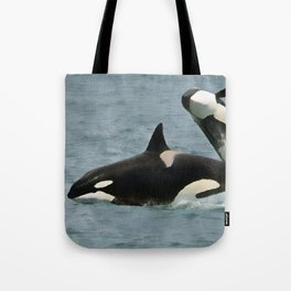 Playful Orcas Tote Bag