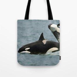 Playful Orcas Tote Bag