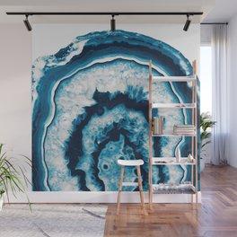 Blue White Agate #1 #gem #decor #art #society6 Wall Mural