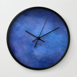 Abstract Soft Watercolor Gradient Ombre Blend 2 Deep Dark Blue and Light Blue Wall Clock