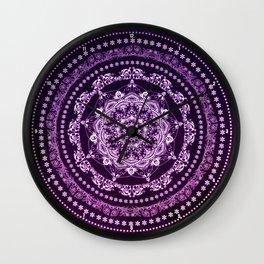 Purple Glowing Soul Mandala Wall Clock