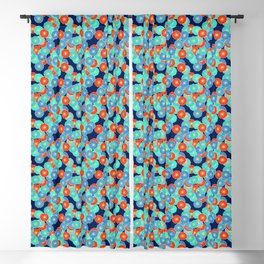 Art Deco Stylized Flower Pattern Blue, Turquoise and Red Blackout Curtain