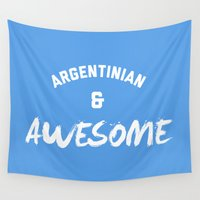 argentina Wall Tapestries featuring Argentina & Awesome Rugby by Star Icons Rugby