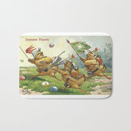 Easter chicks at War charging across field amid toy cannon fired brightly colored Easter eggs Bath Mat