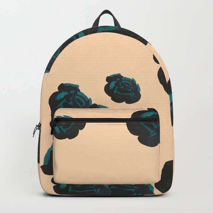 Green and Black Roses on Peach, Greenery Backpack