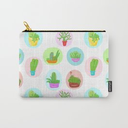 A Collection of Potted Cacti and Succulents With Borders Carry-All Pouch