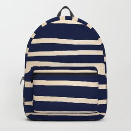 Drawn Stripes White Gold Sands on Nautical Navy Blue Backpack