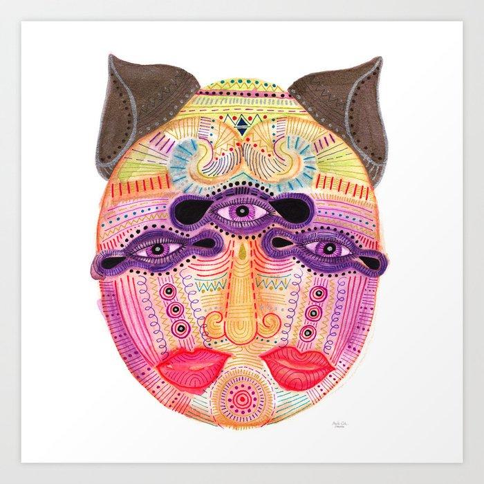 watch my lips mask Art Print