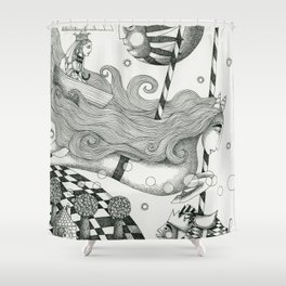 East of Blue Lake Shower Curtain