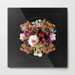 Hidden World of Insects Floral Design on Matte Black Metal Print