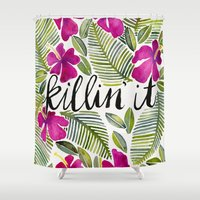 tropical Shower Curtains featuring Killin' It – Tropical Pink by Cat Coquillette