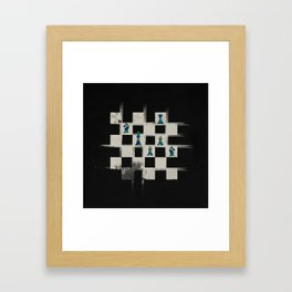 Chessboard and Marble Chess Pieces composition Framed Art Print