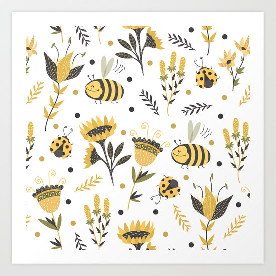 Bees and ladybugs. Gold and black Art Print