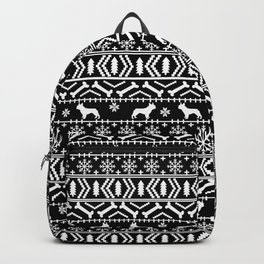 Boston Terrier fair isle dog pattern silhouette christmas sweater black and white Backpack