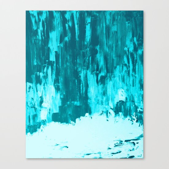 Bright Blue Snow Nights with Icicles Canvas Print