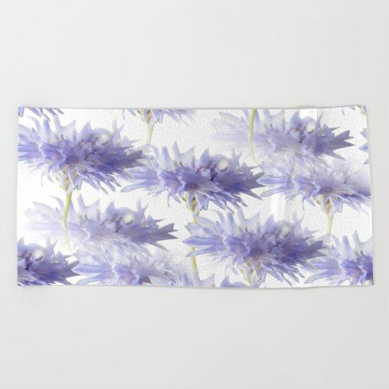 Pale Blue Cornflowers Beach Towel