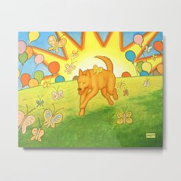 Dog Chasing Butterflies Metal Print