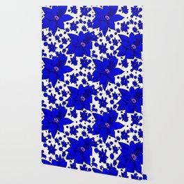 Poinsettia Blue Indigo Pattern Wallpaper