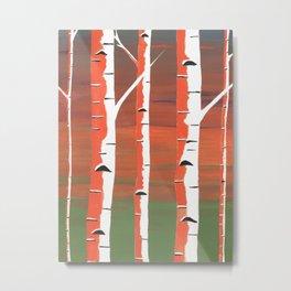Birch Trees At Dusk Metal Print