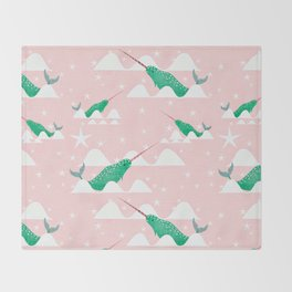 Sea unicorn - Narwhal green and pink Throw Blanket