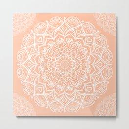Elegant Peach Mandala Metal Print