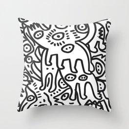 Graffiti Art  Black and White Cyclopes  Throw Pillow