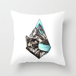 Wolf in Mountains Throw Pillow