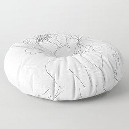Minimal Line Art Woman Flower Head Floor Pillow