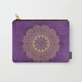 Golden Flower Mandala on Textured Purple Background Carry-All Pouch