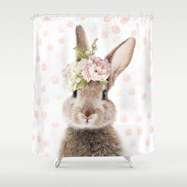 Foral Peek-a-boo Bunny Shower Curtain