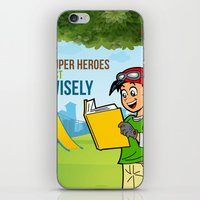 super heroes iPhone & iPod Skins featuring Super Heroes Act Wisely by youngmindz