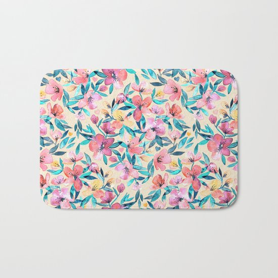 Peach Spring Floral in Watercolors Bath Mat