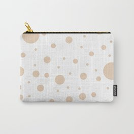 Mixed Polka Dots - Pastel Brown on White Carry-All Pouch