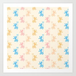 Vintage chic pink blue yellow lions damask pattern Art Print