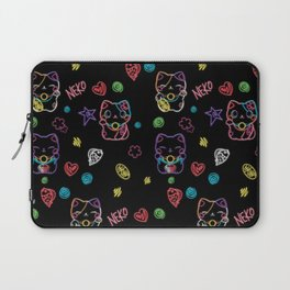 Neon Neko - a cute Japanese lucky cat in neon colors to make you smile Laptop Sleeve