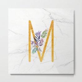 Modern glamorous personalized gold initial letter M, Custom initial name monogram gold alphabet prin Metal Print