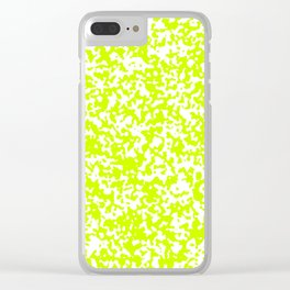 Small Spots - White and Fluorescent Yellow Clear iPhone Case