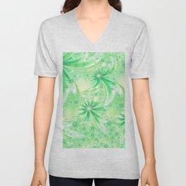 Pastel Green Wildflowers Unisex V-Neck