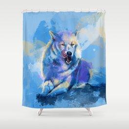 Awaken the Wolf - wild wolf digital art, animal painting Shower Curtain