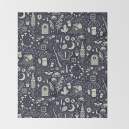 Fairy Garden: Midnight Throw Blanket