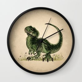 """""""Baby T-Rex"""" by Amber Marine ~ watercolor and ink, (Copyright 2013) Wall Clock"""