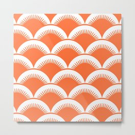 Japanese Fan Pattern Orange Metal Print