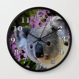 Koala and Orchids Wall Clock