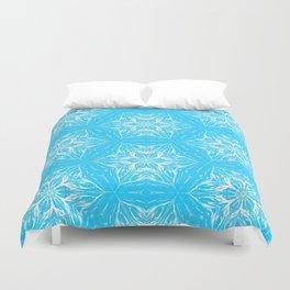 White Snowflakes stars ornament on Blue Duvet Cover