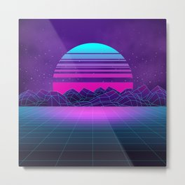 Future Sunset Vaporwave Aesthetic Metal Print