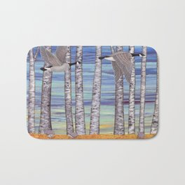 Canada geese, hedgehogs, and autumn birch trees Bath Mat